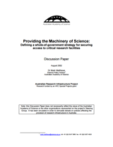 Discussion paper—Providing the machinery of science: Defining a whole-of-government strategy for securing access to critical research facilities