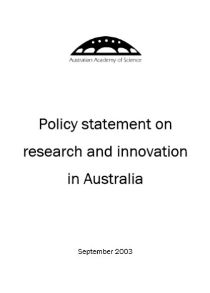 Statement—Policy statement on research and innovation in Australia
